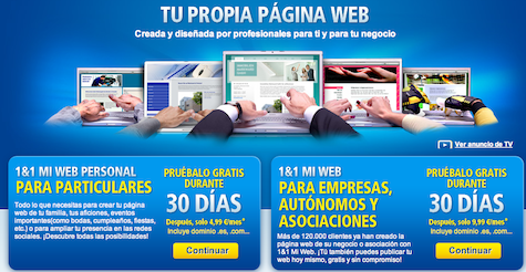 Crear página web con 1&1 Mi Web