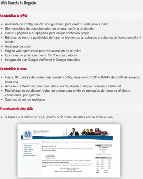 Web Gratis para tu negocio con Conecta tu Negocio 2012