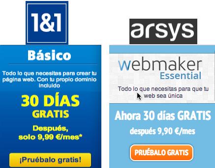 Comparativa de 1and1 Mi Web vs arsys Webmaker