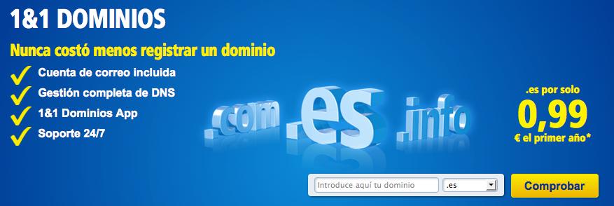 Oferta Dominios .es 1&1