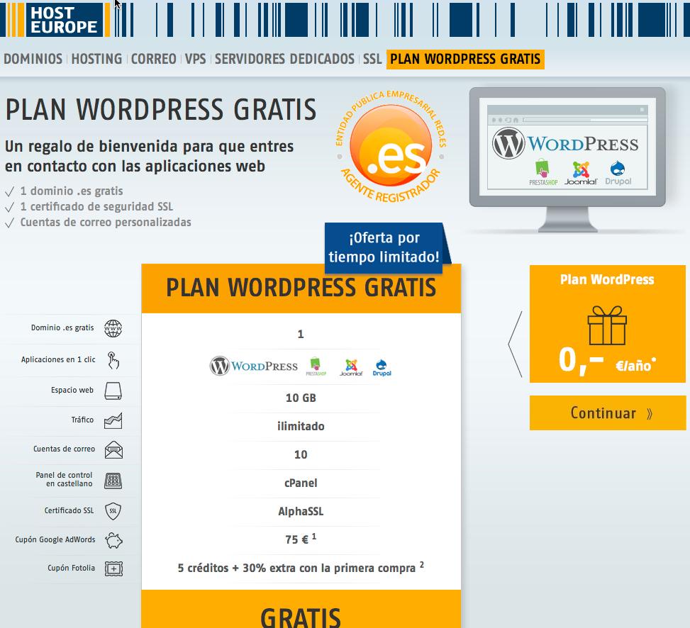 HostEurope llega a España ofreciendo hosting WordPress Gratis