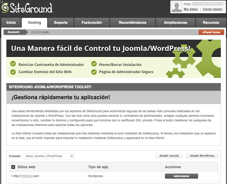 SiteGround Hosting WordPress especialista