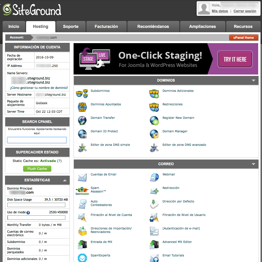 SiteGround Hosting cPanel