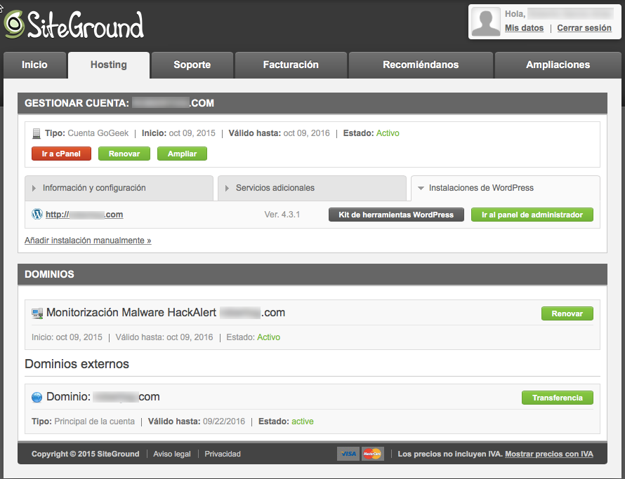 SiteGround España, Hosting WordPress