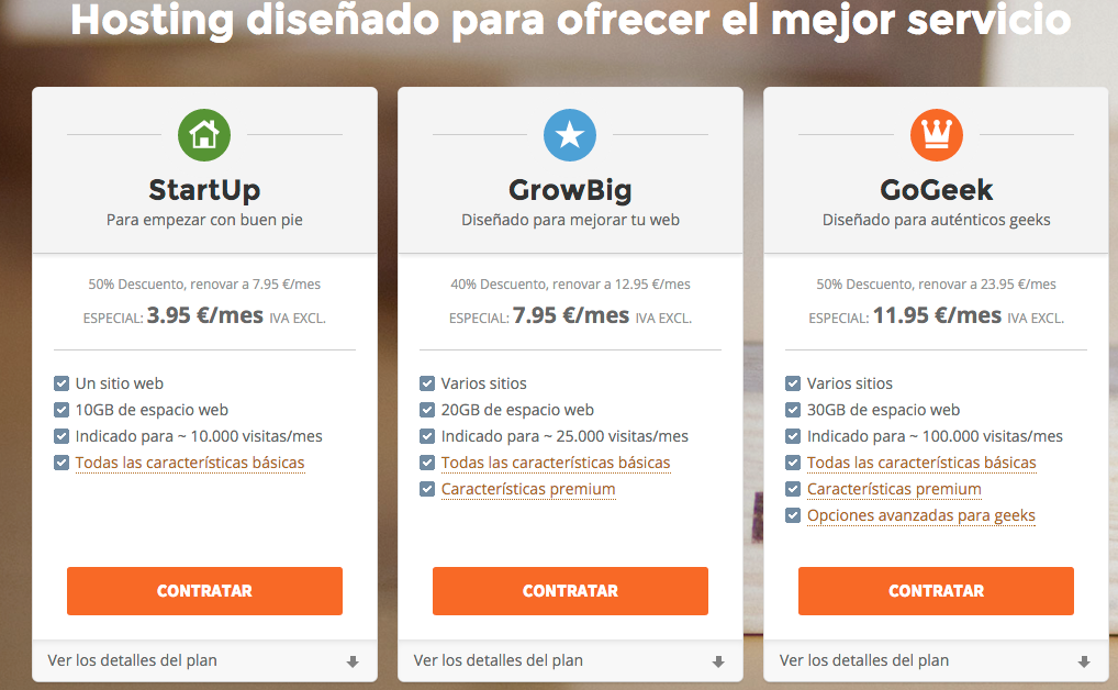 SiteGround España planes de hosting