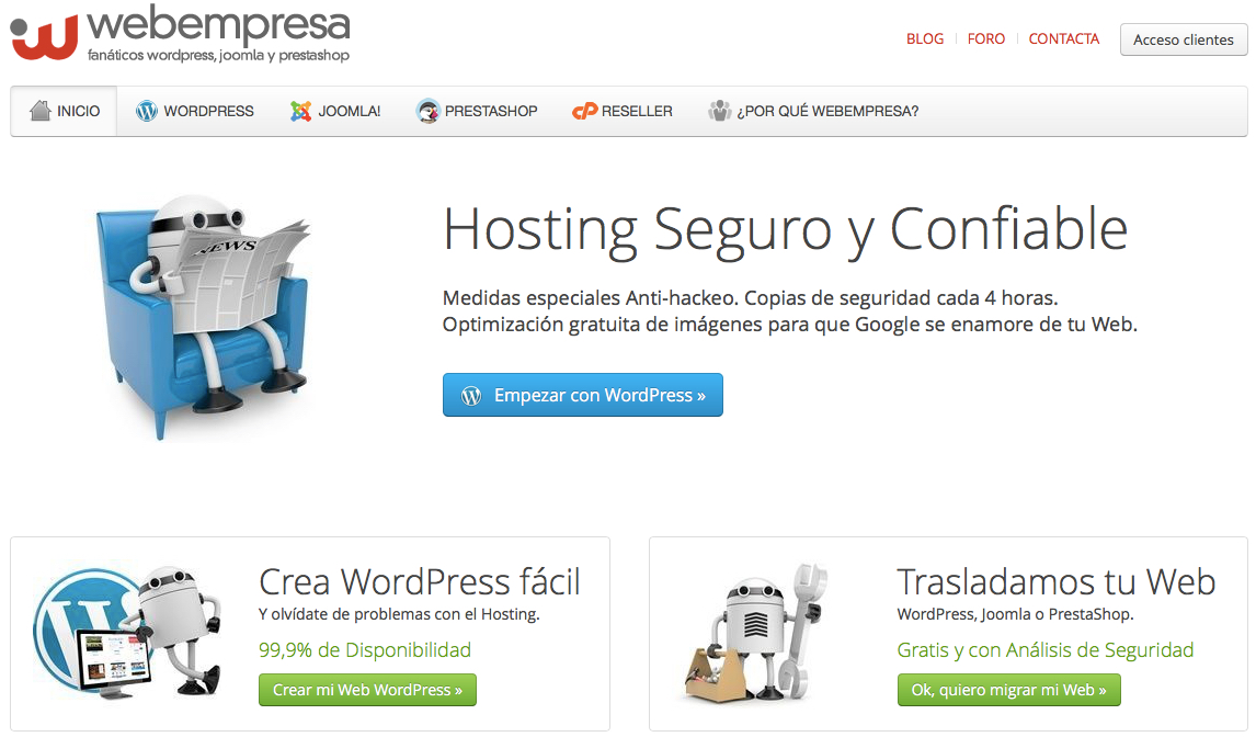 Hosting Webempresa WordPress Joomla Prestashop