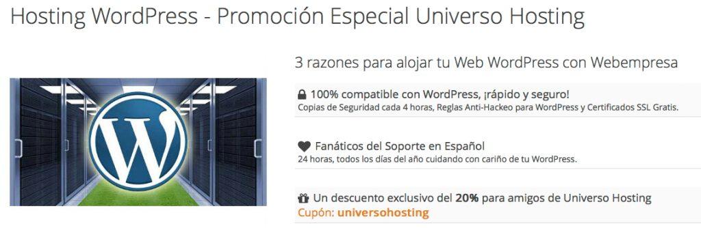 Oferta Webempresa para Universohosting