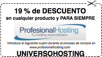 Descuento 19% en hosting Profesionalhosting.com